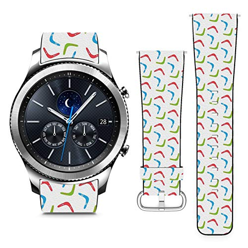 Compatible with Samsung Gear S3 Classic // 22mm Leather Replacement Bracelet Strap Wristband with Quick Release Pins // Colorful Boomerangs ()