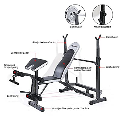 TOMSHOO Adjustable Multi-Station Weight Bench Press Incline Flat Decline Sit Up Bench Weight AB Bench Board Exercise Barbell Squat Rack Home Gym Fitness Workout Equipment