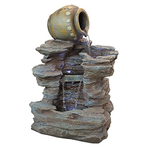 Self Contained Waterfall - Water Fountain with LED Light - Spilling Water Jug Rock Fountain - Outdoor Water Feature