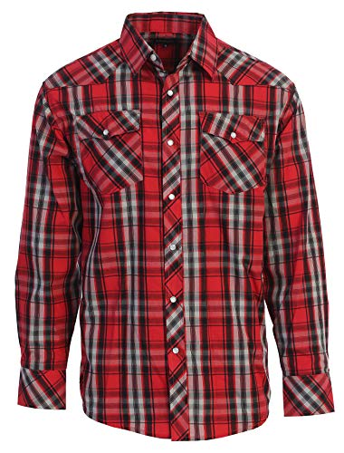 Gioberti Men's Western Plaid Long Sleeve Shirt with Pearl Snap-on, Red/Black/Gray, XX Large