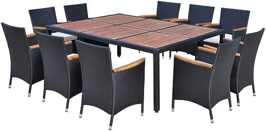 Xinglieu Juego de Muebles de Comedor de Exterior de polirratán Negro 200 x 150 cm Juego de sillas y Mesa de jardín Mesa y sillas de jardín: Amazon.es: Jardín