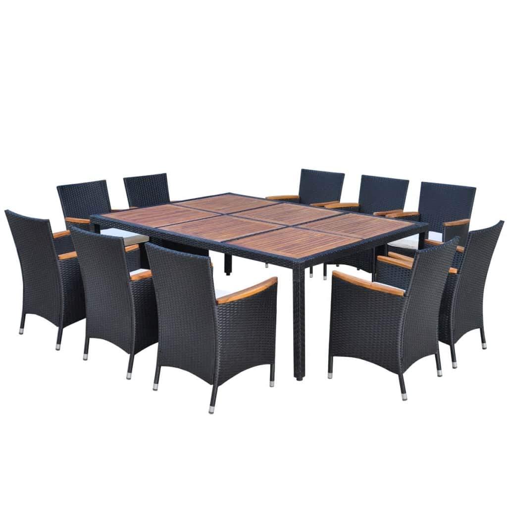 Xinglieu Gartenmöbel-Set für den Außenbereich aus Polyrattan schwarz 200 x 150 cm Set Stühle und Tisch Gartenstühle