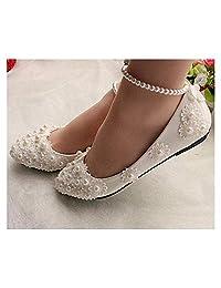 FidgetGear White lace Bridal Flats Low high Heels Size 5-12
