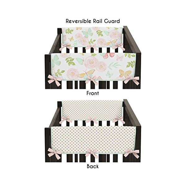 Sweet Jojo Designs Blush Pink, Mint, Gold and White Watercolor Rose Polka Dot Side Crib Rail Guards Baby Teething Cover Protector Wrap for Butterfly Floral Collection – Set of 2