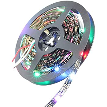 INVOLT 16.4ft WS2812B Individually Addressable LED Strip Light 5050 RGB SMD 150 Pixels Dream Color Non Waterproof IP20 Black PCB 5V DC