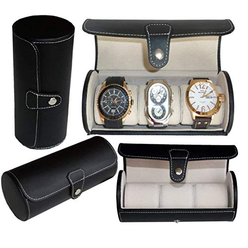 (Royal Brands Watch Box, Luxury Design Display and Storage for Watches and Bracelets - Black PU Leather and Chrome Clasp Closure (3 Slots) )