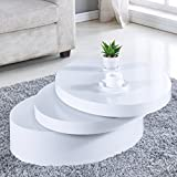 NewRetailGlobal White Round Coffee Table Rotating Contemporary Living Room Furniture For Sale