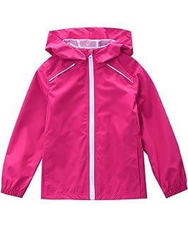 Phorecys Kids Girls Switchback Rain Jacket Hoodie Coat Lightweight Waterproof