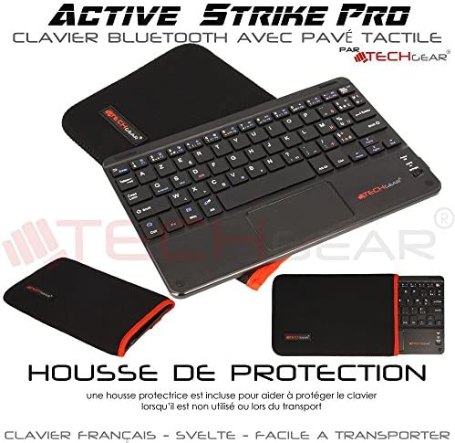 TECHGEAR Active Strike Pro Clavier AZERTY Bluetooth sans Fil avec Pavé Tactile Intégré compatible avec Samsung Tab S6 Lite 10.4, Tab S2 Tab S3 9.7, Tab S4 Tab S5e Tab S6 10.5 (+ Housse Clavier)