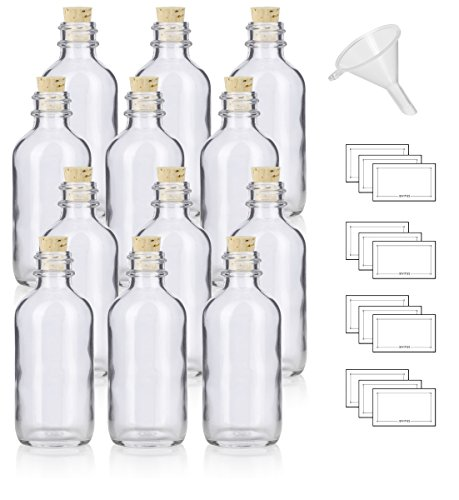 2 oz Clear Glass Boston Round Bottle with Cork Stopper Closure (12 Pack) + Funnel and ()