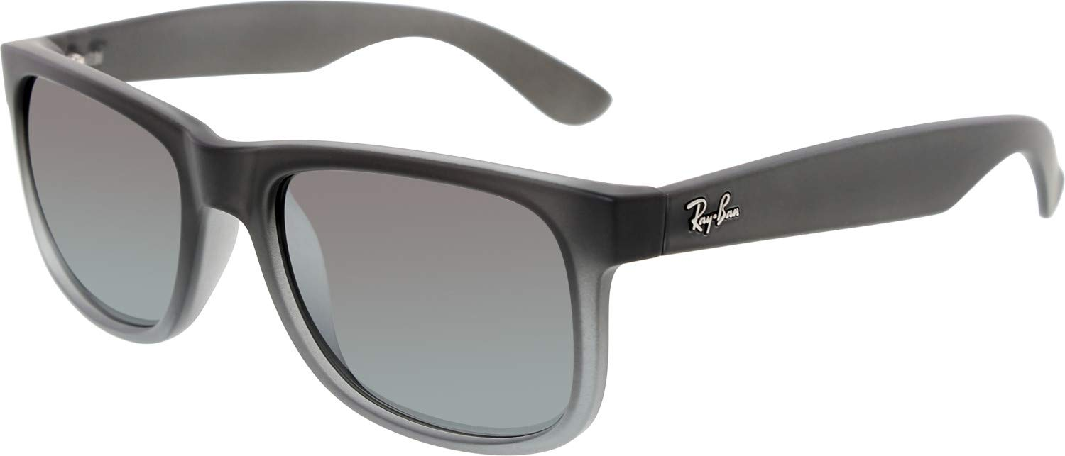 RAY-BAN RB4165 Justin Rectangular Sunglasses, Rubber Grey & Grey Transparent/Silver Gradient Mirror, 51 mm by RAY-BAN