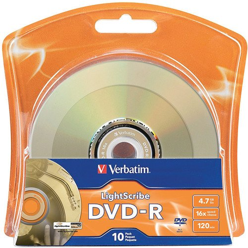 Verbatim 16x DVD-R LightScribe Blank Media, 4.7GB/120min - 10 Pack (96939)