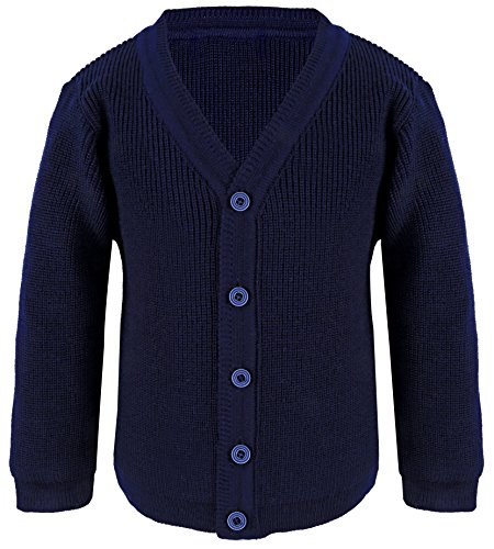 Lilax Little Boys Basic Long Sleeve V-Neck Classic Knit Cardigan Sweater 3T Navy