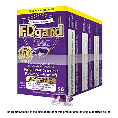 (FDgard® for Functional Dyspepsia (Recurring Indigestion) Symptoms Including, Abdominal Pain & Discomfort, Nausea, Bloating, Difficulty Finishing a Meal, 36 Capsules (3 Pack))