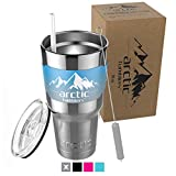 Arctic Tumbler 30 Oz Cup with Compatible Lid, Straw & cleaner- Double Wall Vacuum Insulated - Premium Insulated Thermos Cooler- GUARANTEED to Keep Coffee HOT & Iced Tea COLD! This tumbler is great for teachers, professionals, commuters, stude...