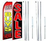 Best Buys Here Sale King Swooper Flag Sign With Complete Hybrid Pole set - Pack of 2