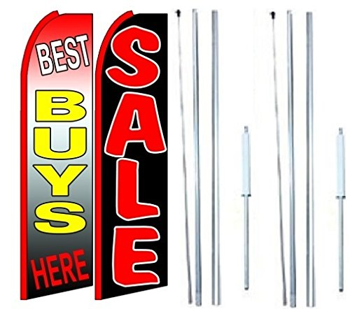 Best Buys Here Sale King Swooper Flag Sign With Complete Hybrid Pole set - Pack of 2 by OnPoint Wares