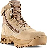 Ridge Footwear Men's Desert Storm Zipper Tactical Leather Boot, Sand, 11