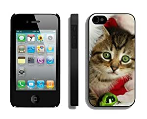 Diy Design Christmas Cat iPhone 4 4S Case 11 Black