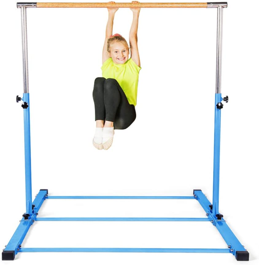 SHIWEI Gymnastics Training Bar- Height Adjustable 3' to 5' Horizontal Kip Bar for Kids