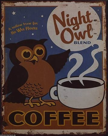 Blechschilder Küche blechschild dekoschild schild eule owl blend coffee kaffee