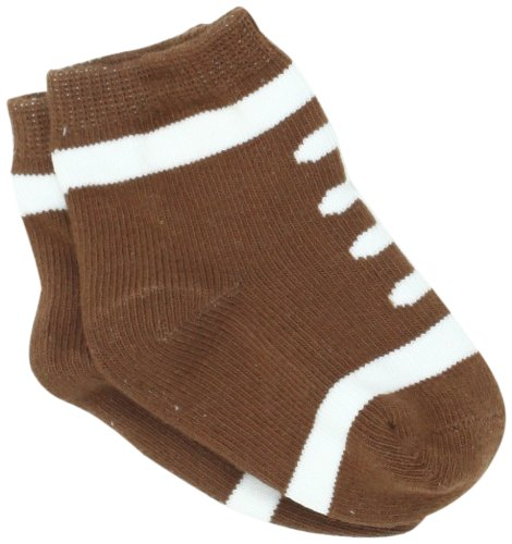 (Mud Pie Boys' Newborn Baby Football Socks, Brown/White, 0-12)