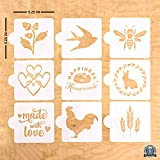 Vie De Pain European Artisan Bread Stencils (Set of 9) - Perfect for Decorating & Baking Bread Loaves, Cakes, Pies or Cookies- 5.25 x 5.25 In.