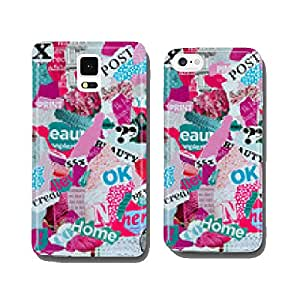 Mood board made of magazines in pink and blue green cell phone cover case iPhone5