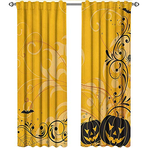 shenglv Halloween, Curtains Blackout 2 Panels, Carved Pumpkins with Floral Patterns Bats and Web Horror Jack o Lantern Artwork, Curtains Kids Room, W84 x L84 Inch, Orange Black -