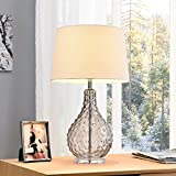 Castlerock Clear Glass/Metal 27-inch Table Lamp, A three-way switch provides you with lighting versatility