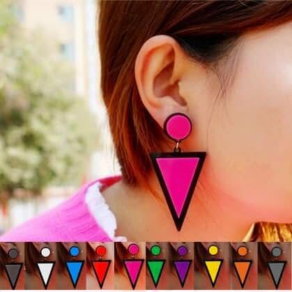 Chokushop Brand Earing Fluorescent Colorful Triangle Earrings Stud Earrings For Women Crystal Pearl Earrings Fashion Jewelry
