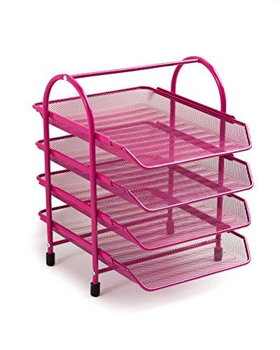 Pink File (Klickpick Office 4 Tier Heavy Duty Desk Organizer Tray l Metal Desktop Letter Tray l Document Organizer Tray l Magazine Holder l Paper file Newspaper organizer Tray (Pink))