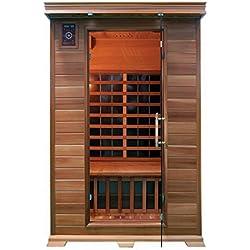 ALEKO SD2PRUT Canadian Red Cedar Indoor Outdoor Wet Dry Mini Sauna 2 kW Far Infrared Heater 2 Person 47 x 47 x 75 Inches