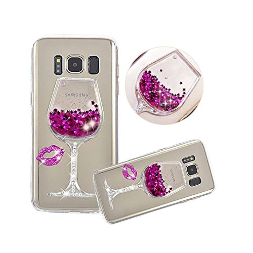 Galaxy Note 8 Liquid Case,Shinetop 3D Diamond Creative Flowing Quicksand Cover for Samsung Galaxy Note 8 Bling Glitter Sparkle Floating Stars Soft TPU Silicone Crystal Clear Protective Case-Hot Pink