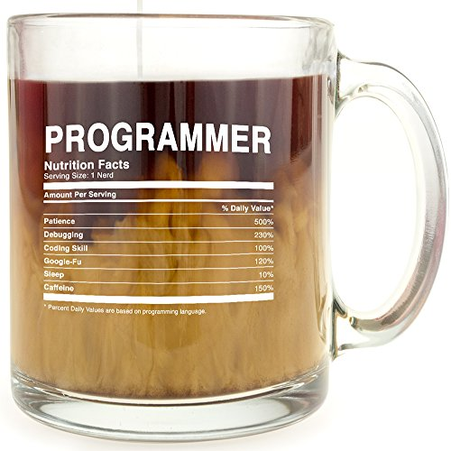 Programmer nutrition facts glass coffee mug gifts for for Cool glass coffee mugs