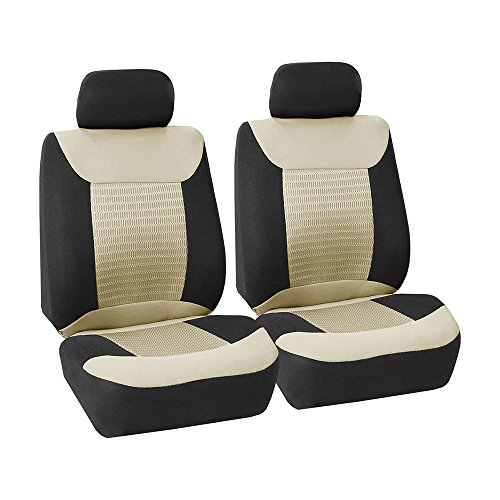 FH Group FB062BEIGE102 Seat Cover (Premium Fabric with 3D Air Mesh Airbag Compatible (Set of 2) Beige)
