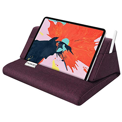 """MoKo Tablet Pillow Stand, Soft Bed Pillow Holder, Fits up to 11"""" Pad, Fit with iPad 10.2""""(8th Gen), New iPad Air 4 10.9""""/ Air 3, iPad Pro 11/10.5/9.7, Mini 5 4, Galaxy Tab S6/ S7 11"""", Plum"""