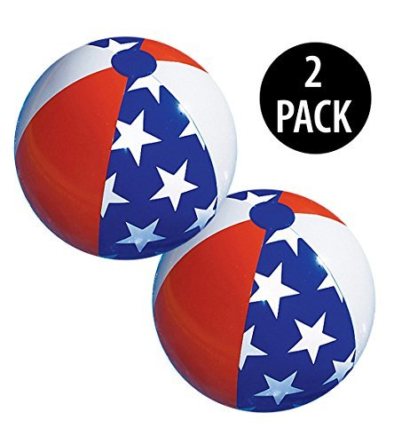 American Patriotic Beach Ball (Set of 2) 4th of July Decorations