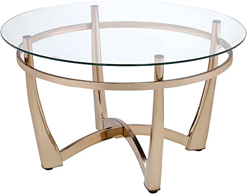 ACME Furniture 81610 Orlando II Coffee Table, Champagne Clear Glass
