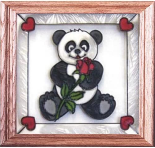 Panda Bear And Rose Painted Stained Glass Panel Stained Glass Panel Q-014