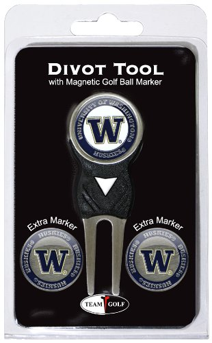 Team Golf NCAA Washington Huskies Divot Tool with 3 Golf Ball Markers Pack, Markers are Removable Magnetic Double-Sided Enamel