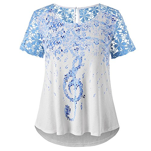 Price comparison product image Charberry Hot Sale Womens Lace Stitching Note Printing Top Plus Size Music Notation Short Sleeve T-Shirt (US-10/CN-XL)