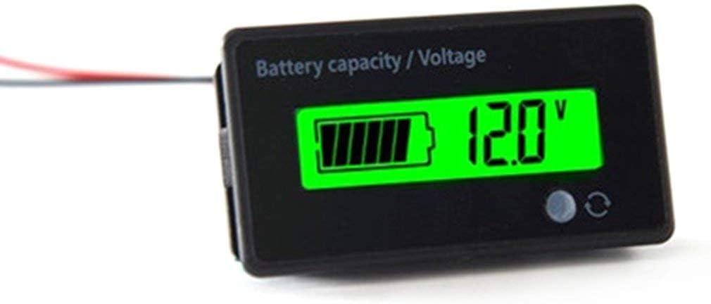 Justdodo Universal LCD /étanche 6-63V Affichage LCD num/érique au Plomb Acide Batterie au Lithium capacit/é indicateur de Tension testeur Dispositif Noir