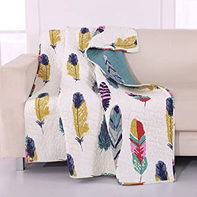 Greenland Home Dream Catcher Quilted Throw - Let the Western wind summon the peaceful spirits of slumber Features unique wind swirls quilting motif Reverses to a coordinate fashion print for two looks in one! - blankets-throws, bedroom-sheets-comforters, bedroom - 51ybNFKsj2L. SS400  -
