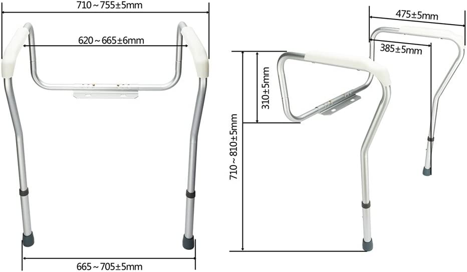 Byya Toilet Safety Frame, Toilet Safety Rails and Grab Bars for Seniors, Elderly, Disable, Handicap - Easy Install with Adjustable Legs and Arm, Hold up to 330lbs Weight.