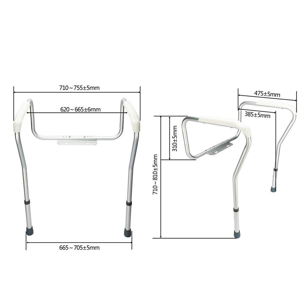 SSLine Adjustable Toilet Safety Rails & Frame Handrails for Toilet Seat Toilet Assist for Elderly Seniors Handicap Disabled