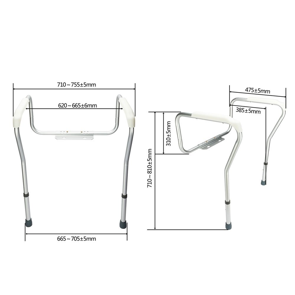OvMax Toilet Safety Frame, Bathroom Safety Rail with Toilet Seat Assist Handrail Grab Bar, Medical Supply for Elderly, Adjustable Legs and Arm by OvMax (Image #4)