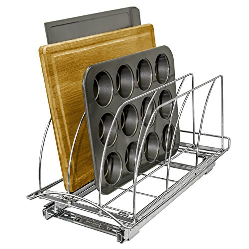 Lynk Professional Roll Out Cutting Board, Bakeware, and Tray Organizer - Pull Out Kitchen Cabinet Rack - 10 inch wide x 21 inch deep - Chrome