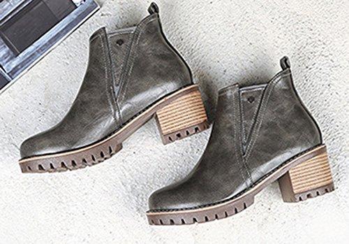 Moyen Low Femme Talon Gris Bottes Fashion Equitation Aisun Cheville Boots Bloc Zt00q