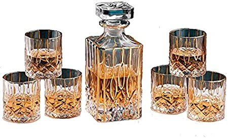 QZMX Decantador Juego de Gafas de Vidrio Artesanal de 7 Piezas y Gafas de Whisky, Jarra de Vidrio Hecho a Mano, Grandes Regalos para Amantes del Vino, 750 ml Decantador de Vino de Cristal